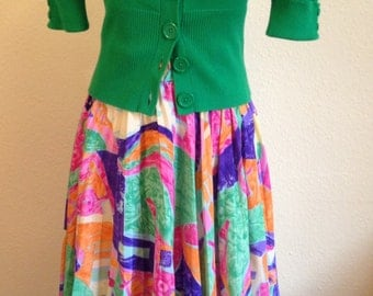 Psychedelic Circle Skirt with Knife Pleats