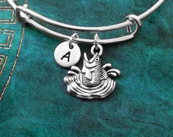 Fish Bangle Fish Bracelet Fishing Jewelry Fishing Gift Charm Bracelet Expandable Bangle Stackable Bangle Adjustable Bangle Personalized