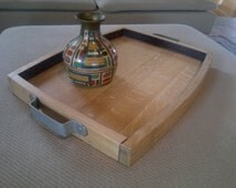 Tray in oak recovered from wine barrels, traditional wood, spinets, serve, classic wood tray