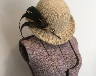 Vintage Hat ~ Beige Knit Bowler Hat with Feathers ~ Tan