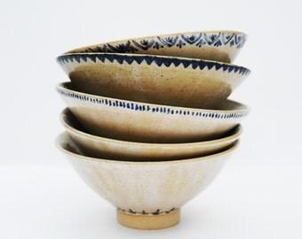 Blue + White Bowl (Zig-Zag Pattern)