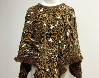 25% OFF SALE 1970's Corduroy Animal Print Fringed Cape
