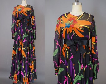 1970s Bright and Bold Bohemian Florals and Leaves Chiffon Party Formal Event Maxi Dress Gown