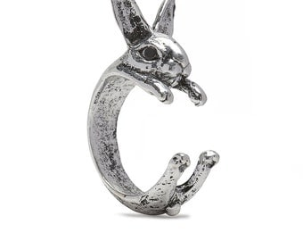 Rabbit Ring in Silver Tone Alloy - Bunny Pet Animal Lover Cute Gift Idea - by Serebra Jewelry