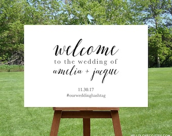 PRINTABLE Wedding Welcome Sign | Personalized Calligraphy Large Wedding Sign | Custom Black and White Wedding Decor | DIGITAL