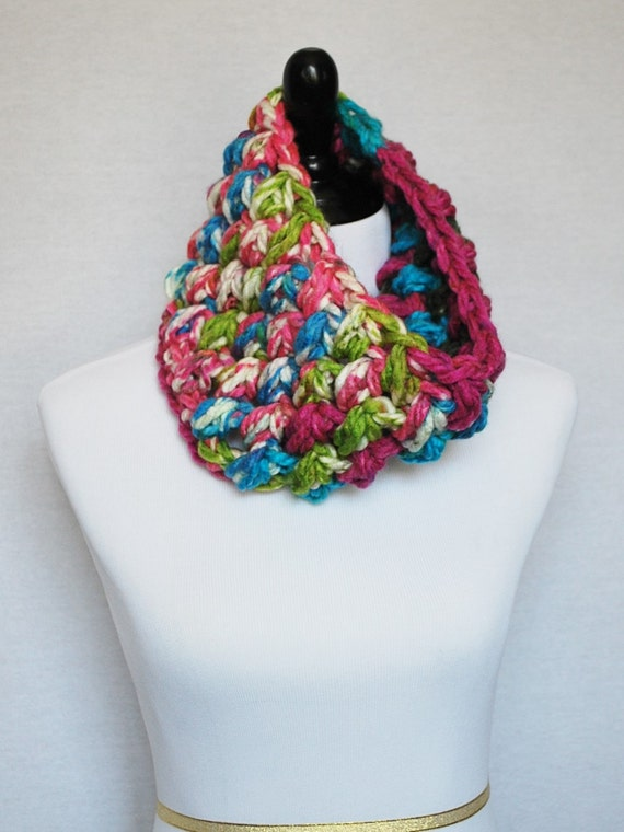 Pink, Blue and Green Crochet Cowl, Bright Puff Stitch Infinity, Chunky Crochet Cowl, Bobble Neck Warmer, Neon Pink, Neon Blue