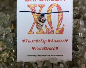 Chi Omega Owl Wish Bracelet