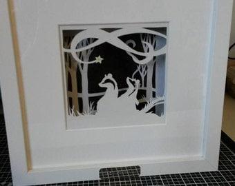 Badgers by Moonlight Framed Papercut