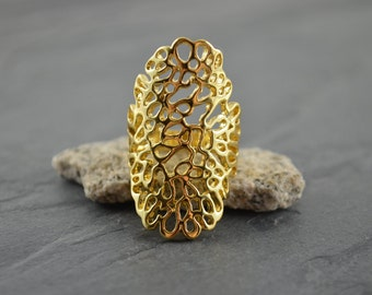 Gold Lace Coral Reef Long Statement Ring - Gold Filigree Nature Ring