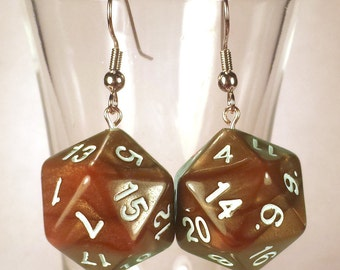 D20 Copper Metallic Dice Earrings