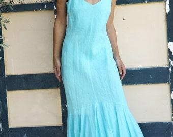 Vintage boho Mediterranean  maxi blue asymmetric linen dress.size m