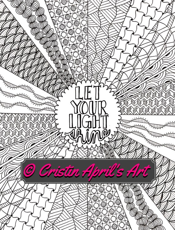 let there be light coloring page - printable adult coloring book page let your light shine