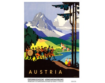 Austria Vintage Travel Poster - Digital Download - Austrian Art Travel Print Europe Travel Print Travel Art Home Decor - 0568