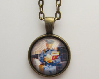 Mail Carrier Postage Stamp Pendant, Cancelled Postage Stamp Necklace, Upcycled Postage Stamp Jewelry, Gift for Mail Carrier, Vintage Stamp
