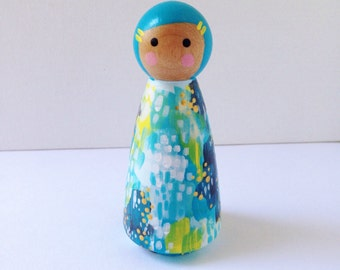 Abstract Wooden Peg Doll