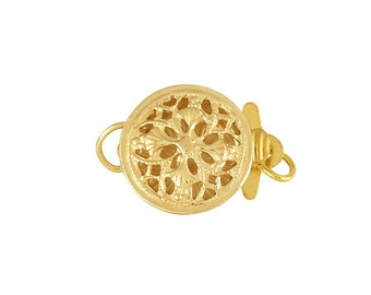 14K Gold Filled Filigree Round Safety Clasp, 9.5mm