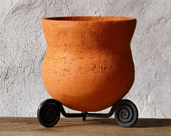 Ceramic Planter Neolithic Pot Forged Iron Stand Mothers Day Gift Rustic Home Decor