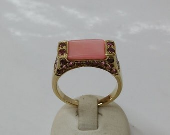 Gold Ring 375 with Rose Quartz and tourmaline GR140