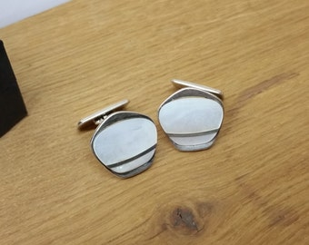 Cufflinks silver 835 mother of Pearl inlay MS138