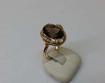 Ring gold 333 with smoky quartz size 17.7 mm, size 7 GR175
