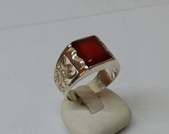 925 Silver ring with red agate flower pattern SR454