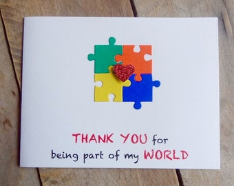 Autism Thank You Card, Autism Awareness Puzzle Piece Card, Aspergers Card, Special Needs Thank You Greeting Card, Puzzle Pieces, Handmade