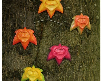 Smiling Leaves Mobile / Quirky handmade art piece / Fantasy Sculpture/ Vibrant Leaf Sculpture