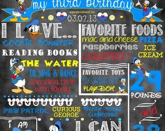 "Donald Duck Birthday Stat ""Chalkboard""(digital poster)"