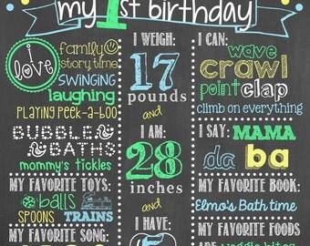 Polka Dot Birthday Chalkboard / Blue Polka Dot Birthday Chalkboard /Boy First Birthday Chalkboard