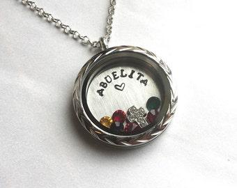 ABUELITA - Floating Charm Locket - Memory Locket - Custom Hand Stamped Gift for Mom or Grandma
