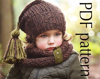 "Free KNITTING PATTERN *Hat and cowl brown set* ""Buy 2, Get One Free!"", Cap and scarf (sizes: baby, toddler,kids,child,adult) PDF 9 *"