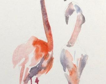 Original watercolor painting Bird Flamingo Watercolour Art