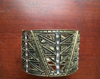 bronze and copper psychedelic two inch cuff bracelet