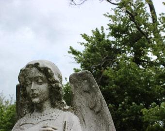 Cemetery Stone Angel Statue Memorial Gothic Photograph Fine Art Print