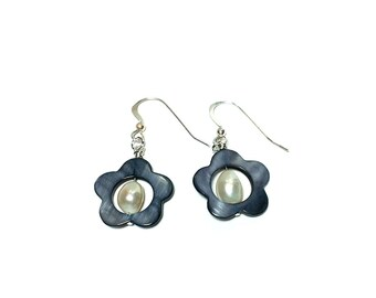 Freshwater Pearl with Mother of Pearl Shell Flower Earrings, Mother of Pearl Shell and Pearl Earrings, Sterling Silver Pearl Earrings