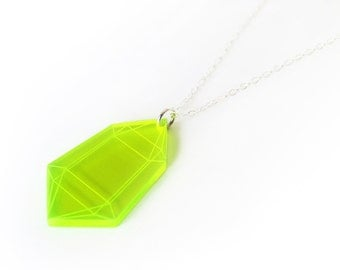 Fluorescent Green Small Crystal Pendant Necklace, Laser Cut Acrylic, Neon Jewelry, Geometric Statement Necklace, Futuristic Jewelry