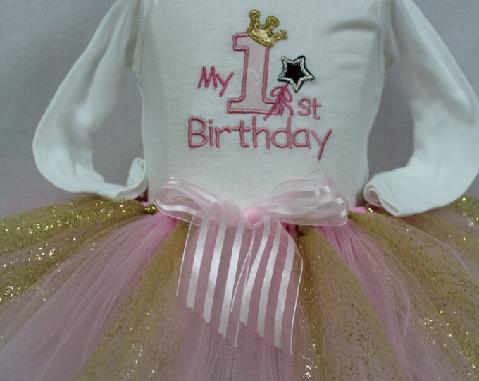 First Birthday outfit,1st birthday Girl outfit, Princess First Birthday, Pink and Gold Birthday outfit, Pink and Gold tutu,Cake smash set