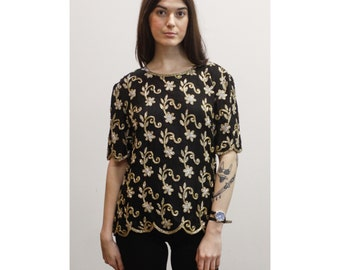 Vintage Beaded Black Silk Floral Evening Blouse 60s 70s Metallic Silver & Gold Embellished Top w/ Mod Flower Pattern M Md Medium
