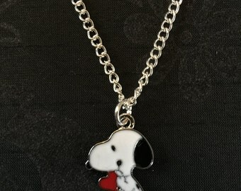 Silver Plated Snoopy Dog Heart Necklace