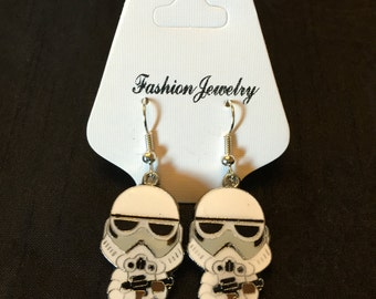 Silver Plated Star Wars Storm Trooper Earrings