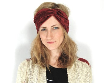 Deep Red Crushed Velvet Turban Headband - Crushed Velvet Twist Headband