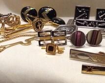 LOT Tie Clip, Cuff Links, Mens jewelry, Men Accessories, Suit Tie Lot 1918-3