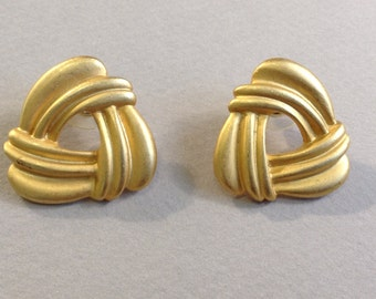J S Matte Gold Tone Knot Pierced Earrings