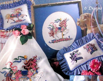"Cross Stitch Book// ""Carousel Magic"" By Leisure Arts, Leaflet 2366.( 1993) A Collection of *6* Desigs of Carousel Horse.  //On SPECIAL!!"