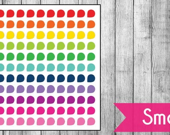 Rainbow Dew Drops - 4 Sizes | Planner Stickers