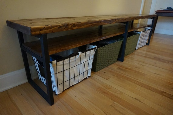 Long Foyer Bench : Rustic entryway bench storage wood