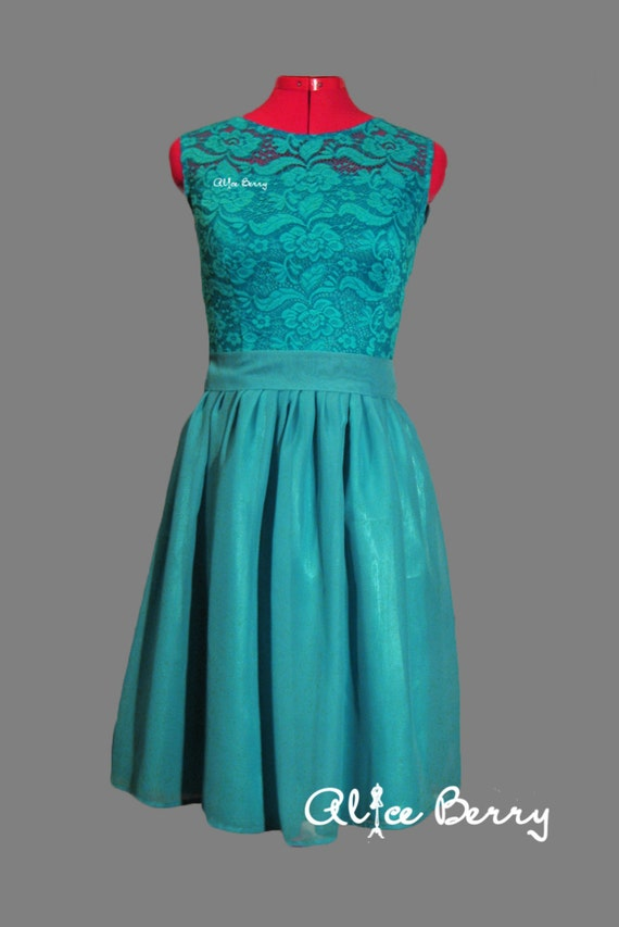 Turquoise Bridesmaid Dress Long Turquoise Lace Dress