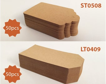 50pcs Natural Brown Kraft Paper Tags (Two Style Choices: Scalloped Top & Luggage)