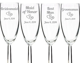 Set of 10- Wedding Party Toasting Glasses  Engraved Wedding Champagne Flutes- Bride, Groom, Maid of Honor, Bridesmaid, Best Man, Groomsmen