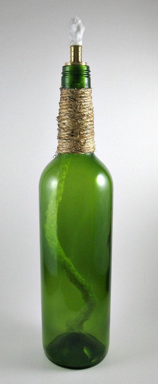Wine bottle tiki torch torch light patio lighting outdoor for Wine bottle patio lights